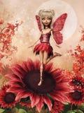Menina feericamente em uma flor vermelha ilustração royalty free