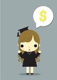 A menina felicita o dinheiro ilustração do vetor