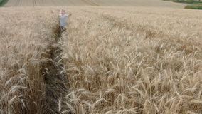 Menina feliz bonito que anda no campo de trigo sobre filme