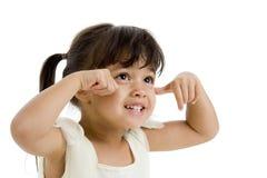 Menina feliz bonito que olha acima fotografia de stock royalty free