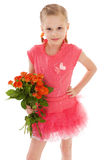 A menina feliz com aumentou na roupa vermelha Imagens de Stock Royalty Free
