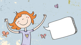 Menina feliz com balão de discurso Fotografia de Stock