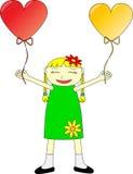 Menina feliz com balões Fotos de Stock Royalty Free