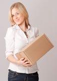 Menina feliz com caixa Fotos de Stock
