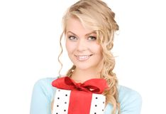 Menina feliz com caixa de presente Imagens de Stock Royalty Free