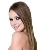 Menina feliz com composição do olho roxo Fotografia de Stock Royalty Free