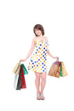 Menina feliz com compras. fotografia de stock royalty free