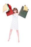 Menina feliz com compras. imagem de stock royalty free
