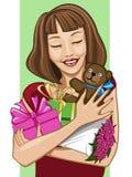 Menina feliz com lotes dos presentes; no fundo branco/verde ilustração royalty free
