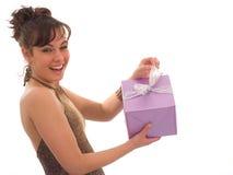 Menina feliz com presente Fotos de Stock Royalty Free