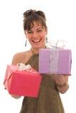 Menina feliz com presente imagens de stock