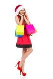 Menina feliz com sacos de compra Fotos de Stock