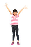 A menina feliz com seus braços largos abre Imagem de Stock