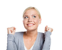 Menina feliz com seus punhos acima Fotografia de Stock