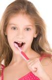 Menina feliz com toothbrush Fotografia de Stock