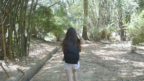A menina feliz com trouxa está correndo ao longo da selva verde e está tendo o divertimento Mulher bonita nova que movimenta-se n vídeos de arquivo
