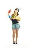 Menina feliz com um presente Fotografia de Stock