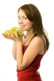 Menina feliz com uvas fotografia de stock royalty free