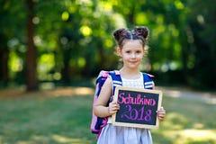 Menina feliz da criança que está com mesa e trouxa ou sacola Aluno no primeiro dia da classe elementar Saudável Imagem de Stock