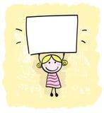 Menina feliz da criança que prende o espaço em branco vazio. ilustração do vetor