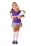 Menina feliz da escola com livros Foto de Stock Royalty Free