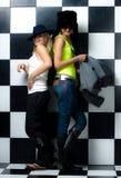 Menina feliz de dois amigos Fotografia de Stock