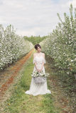 Menina feliz delicada doce bonita em um vestido bege do boudoir com flores em uma terra arrendada da cesta, foto que processa ao  Imagens de Stock Royalty Free