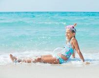 Menina feliz do mergulho Fotos de Stock