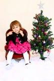 Menina feliz do Natal do bebê de um ano da face fotos de stock royalty free