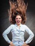 Menina feliz e ectática da mulher que tem o divertimento movimento Fotografia de Stock Royalty Free