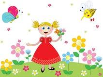 Menina feliz em um gardin ilustração do vetor