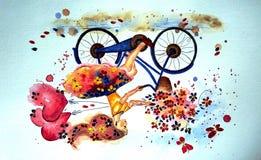 Menina feliz em uma bicicleta, técnica da aquarela foto de stock royalty free