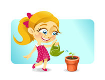 Menina feliz loura que molha uma planta Imagem de Stock Royalty Free