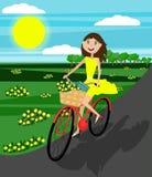 Menina feliz na bicicleta Vetor Projeto liso ilustração stock