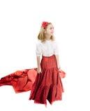 Menina feliz na saia do flamenco imagem de stock royalty free