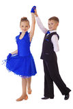 Menina feliz no vestido azul da dança Fotografia de Stock