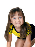 Menina feliz pequena isolada sobre o branco Foto de Stock Royalty Free