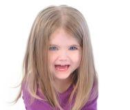 Menina feliz pequena no fundo branco foto de stock