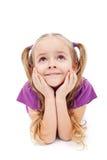 Menina feliz que daydreaming fotos de stock