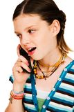 Menina feliz que fala no móbil Fotos de Stock Royalty Free