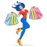 Menina feliz que guardara sacos de compras ilustração royalty free