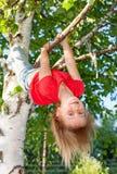 Menina feliz que pendura de uma árvore em um jardim do verão Fotos de Stock Royalty Free