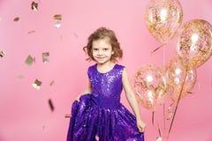 Menina festiva com balões imagens de stock royalty free