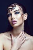 Menina fino moreno bonita com composição molhada do cabelo e do corpo e da beleza Fotos de Stock