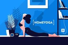 Menina flexível bonita nova que faz a ioga em casa ilustração stock