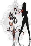 Menina, flor e borboleta ilustração stock