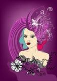 Menina floral creativa ilustração royalty free