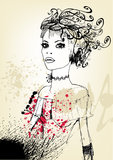 Menina floral creativa ilustração stock