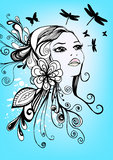 Menina floral creativa Fotografia de Stock Royalty Free