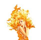 Menina-fogo, anunciando Imagem de Stock Royalty Free